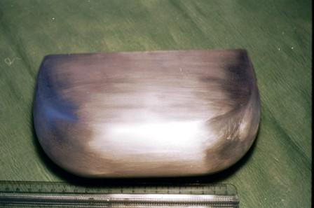 Modello in alluminio usato per ottenere la sacca mediante dipping nel silicone.